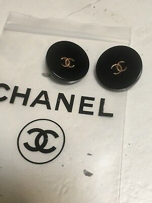 Set 2 Bottoni Resina Neri Vintage Chanel - logo gold - mm.20