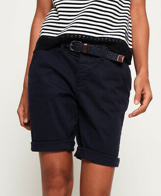 New Womens Superdry International City Shorts Pacific Navy