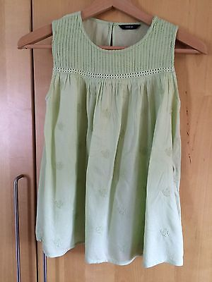 Pretty, pale pastel green, sleeveless smock top - age 12-13 years