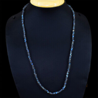 310.00 Cts Earth Mined Blue Flash Labradorite Round Beads Necklace NK 62E41