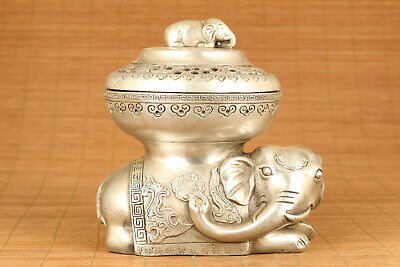 unique chinese old tibet buddha elephant incense burner collectable