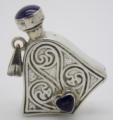 Vintage Sterling Silver 925 & Stone Italian Made Perfume Bottle Mini, Tested