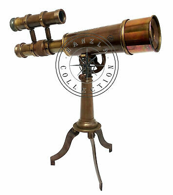 Kelvin Hughes Nautical Antique Brass Telescope Double Barrel With Tripod Stand