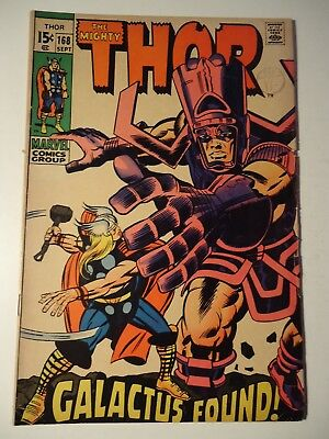 THE MIGHTY THOR #168, Marvel, 1969. Fn *ORIGIN OF GALACTUS* **RARE** cents copy