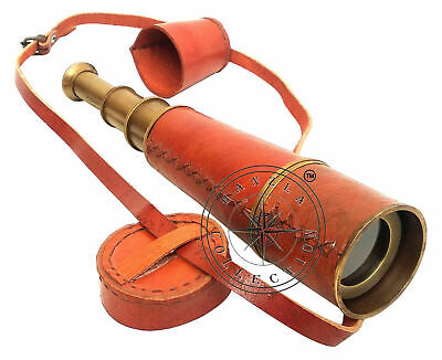 "Vintage Antique Brass Leather Spyglass Telescope 18""~Old War Model With Cap Belt"
