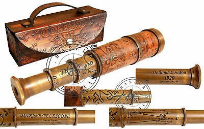 "14"" Antique Brass Leather Telescope Vintage Dollond London Pirate Spyglass Scope"
