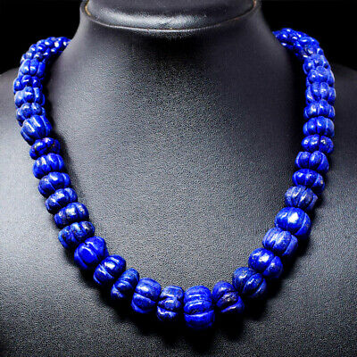 672.00 Cts Earth Mined Blue Lapis Lazuli Flower Carved Beads Necklace NK 16E74