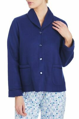 Ladies S-XXL Givoni (95) Button Up Bed Jacket Lounge Wear Polar Fleece Navy Blue