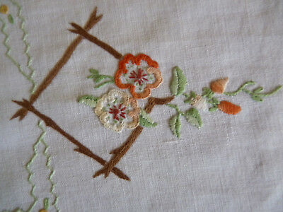 DAINTY APPLE BLOSSOMS Pretty Hand Embroidered Large Doily Table Centre VINTAGE