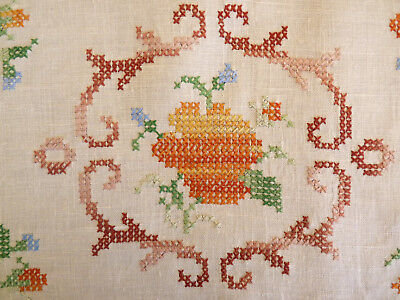 STUNNING CROSS-STITCH Large Doily Hand Embroidered Table Centre VINTAGE