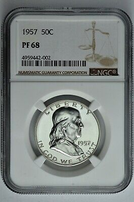 1957 50c Silver Proof Franklin Half Dollar NGC PF 68