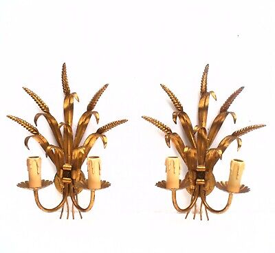 Pair French Wheat tole ware Gold Sconce Wall Lights Hollywood Glamour Double arm