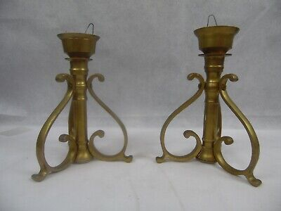Vintage Brass Candlesticks Candle Holders Pair Lot of 2 Antique Heavy