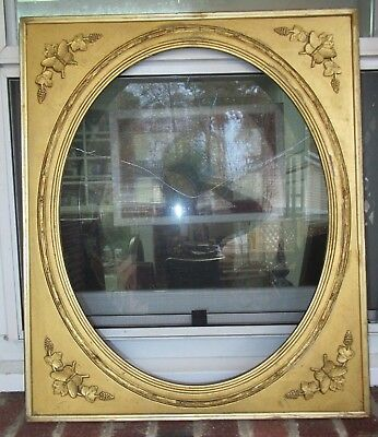 Antique VICTORIAN LEMON GOLD Gilt Oval PORTRAIT Picture Frame Butterflies c1850s