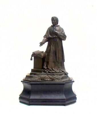 Antique French Bronze Amistie Religious Pope Piux IX Statue Shrine Altar Ebony