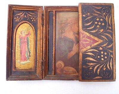 French Triptych Icon Altar Religious Madonna & Child Orthodox early 19th century