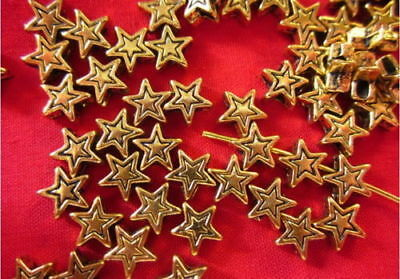 100 Antique Gold Coloured Star Spacers 4mm #sp1832 Jewellery Making Findings