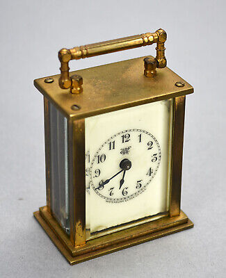 Old Waterbury Miniature Carriage Clock - Top Handle - Brass w/Glass Sides as is