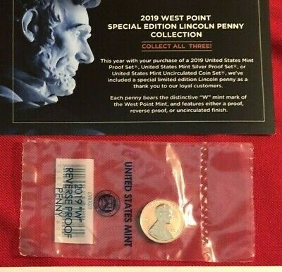 2019 W CENT  ONE REVERSE  PROOF PENNY  sold in US Mint issued envelopes on hand