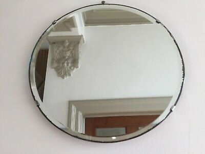 Small Round Vintage Frameless Bevelled Edge Wall Mirror 1940s Circular 30cm m184