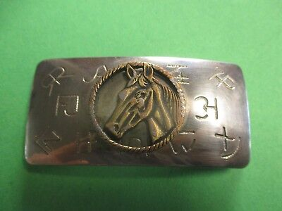 Made USA by Chambers Western Cowboy Cattle Brands Horse Head Belt Buckle