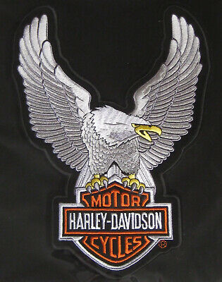 Harley Davidson Up Wing Eagle Silver Patch Large Ships International