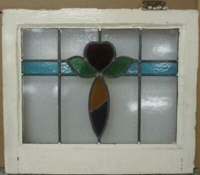 "OLD ENGLISH LEADED STAINED GLASS WINDOW Colorful Heart & Band 21.25"" x 18.25"""