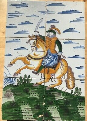 TILE PANEL LORD ON HORSE, late 18th C.
