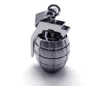Fashion 316L Stainless Steel  Antitank Grenade Pendant Womens Mens Necklace