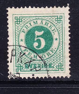 SWEDEN 1873 SG18a 5ore emerald green - perf 14-  fine used. Catalogue £24