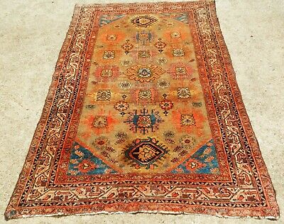 ANTIQUE SAFFRON CAMEL MALAYER PERSIAN  ORIENTAL RUG  FINE  WEAVE SIZE 4' x 6' 2""