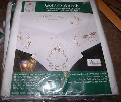 "Tobin Stamped Embroidery Tablecloth GOLDEN ANGELS 58"" x 104"""