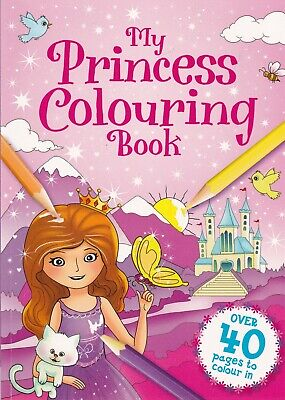 Princess Colouring Book For Children 40 White Paper Pages To Colour In