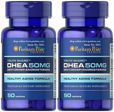 2 X Puritan's Pride DHEA 50mg Build Muscle Burning Fat Weight Loss Stamina Vigor