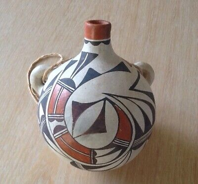 Old Acoma Native American Indian Polyychrome Pottery Canteen - Pre-Owned.