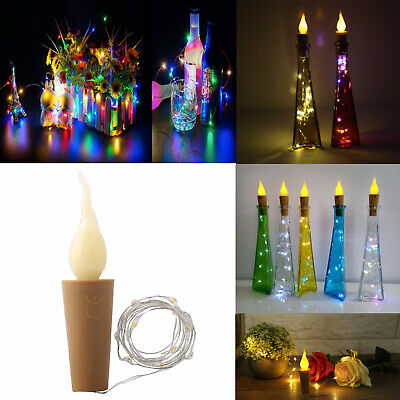 10 / 20LEDs Candle Cork Shaped LED Copper Wire String Lights Wine Bottle Deco SS