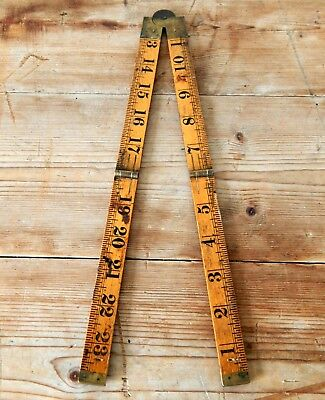 Vintage Rabone Boxwood Folding Ruler Rule No 1167 Tool - 24 Inches - 2 Foot #C