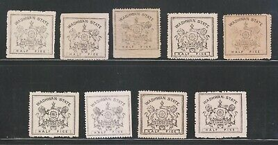 A SELECTION OF INDIA WADHWAN STATE 1888-94, 1/2p (9) DIFFERENT MNH STAMPS RARE.
