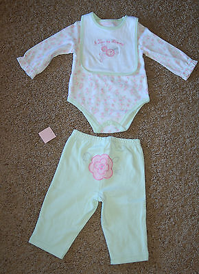NWT First Impressions I Love My Mommy Green Velour 3 piece Set size 3-6M LQQK FS