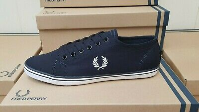 Fred Perry Kingston Twill Navy Canvas Shoes New Boxed