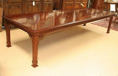 Kindel Furniture Chinese Chippendale Mahogany Dining Table L 11.5 ft w 4 leaves