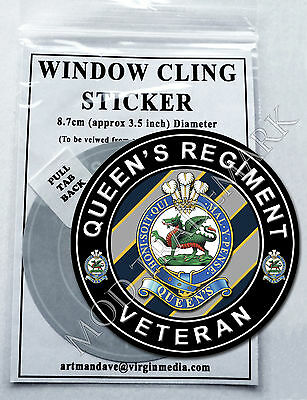 QUEEN'S REGIMENT, VETERAN WINDOW CLING STICKER  8.7cm Diameter