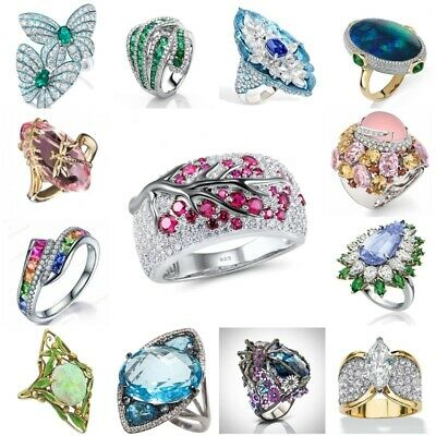 925 Silver Gemstone Sapphire Emerald Woman Ring Cocktail Party Jewelry Sz6-10
