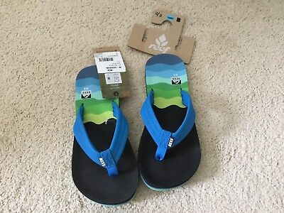 f15c92a8df6d REEF AHI TODDLER Boys Slip On Aqua Green Flip Flop Sandals Size 3 4 ...