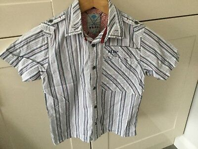Fat Face Boys Striped Short Sleeve Shirt Age 6-7 Years. Great Condition.