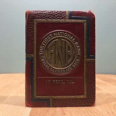Antique First National Bank- Bank Book - No Key- Patented 1923