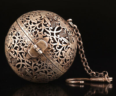 Antique Tibetan Silver Pendant Ball Incense Burner Flower Collection