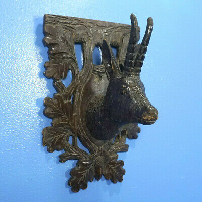 Antique CHAMOIS HEAD WALL HUNT PLAQUE German Black Forest Wood Carving c1860