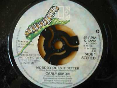 Carly Simon = Nobody Does It Better / After The Storm - Elektra 1977 - Ex Vinyl