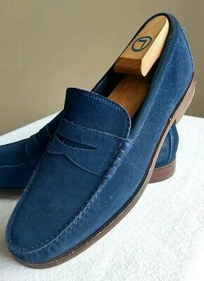 846807da700 Cole Haan 9.5D Men s Navy Blue Suede Handsewn Leather Casual Penny Loafers  Shoes